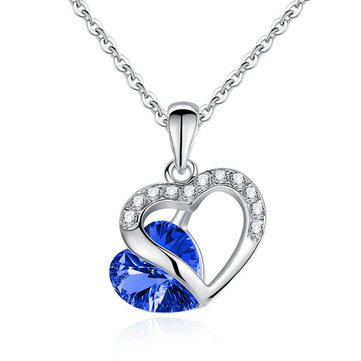 8310e69a92b6b Rhinestone Crystal Heart Shaped Pendant Necklace For Women - VolgoPoint