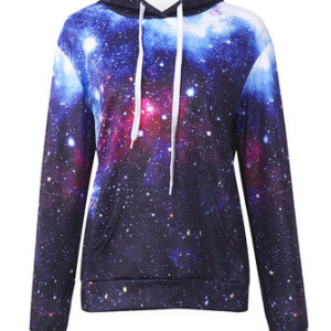 3D Star Sky Printed Long Sleeve Pocket Casual Hoodie For Women