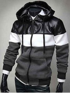 PU Leather Spliced Color Block Hooded Long Sleeves Hoodie For Men - Deep Gray