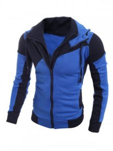 Color Spliced Long Sleeve Double Zipper Hoodie For Men - Blue
