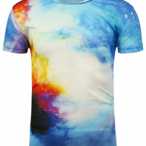 3D Cloud Galaxy Print Crew Neck T-Shirt