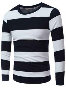 Striped Crew Neck Sweatshirt - Cadetblue