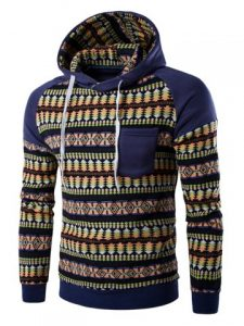 Pocket Design Tribal Print Hoodie - Denim Blue
