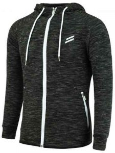 Zip Up Sports Hoodie - Black Grey
