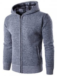 Textured Zip Up Hoodie - Light Gray
