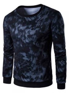 Long Sleeve 3D Snake Skin Print Sweatshirt - Black