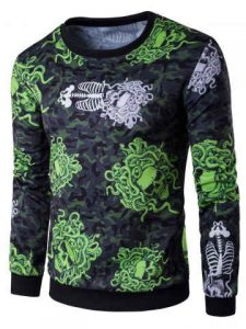 Long Sleeve 3D Snake and Skull Print Sweatshirt - Black