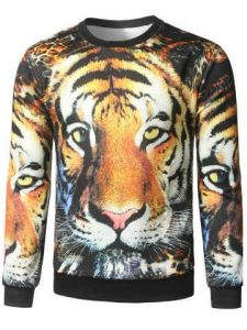 Tiger Face Print Crew Neck Sweatshirt - Yellow
