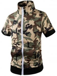 Short Sleeve Stand Collar Camo Hoodie - Gray White Camouflage