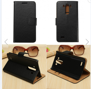Black Wallet Flip Leather Card Cover Case Stand For LG G3 D850 D855