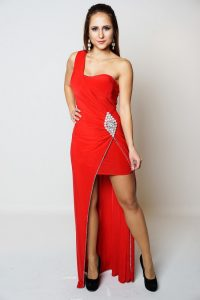 DANIKA RED JEWEL EMBELLISHED DRESS