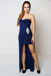 DANIKA NAVY JEWEL EMBELLISHED DRESS