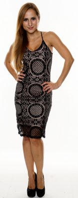 DEBBIE BLACK PEACH DELICATE FLORAL LACE DRESS