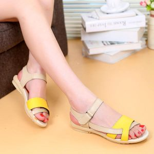 Summer Chic Sandals Elastic Adjustment Flat Sandals Peep Toe Leather Shoes
