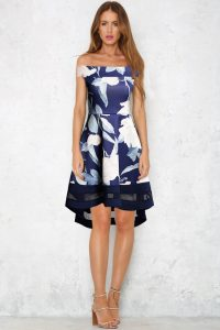 GRACE NAVY NUDE HIGH LOW MESH BARDOT DRESS