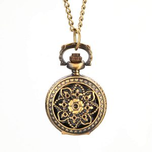 Quartz Pocket Watch S026 Retro Blossom Carved Pattern Necklace