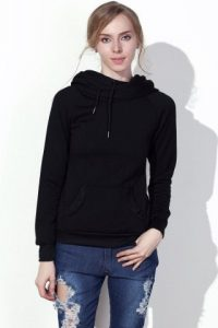 Drawstring Solid Color Women's Hoodie Stylish Hooded Long Sleeve
