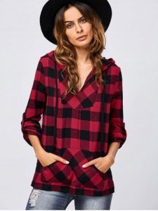 Adjustable Sleeve Plaid Hoodie Kangaroo Pocket