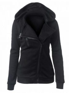 Zipper Button Design Women Hoodie Casual Turn-down Collar  - Black