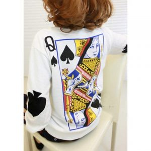 Sweatshirt Women's Long Sleeves Round Neck Poker Pattern Print