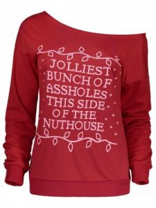 Red Sweatshirt Christmas Letter Print Skew Neck