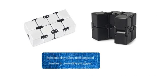BLACK Fidget Cube Shape Funny Alloy Stress Reliever