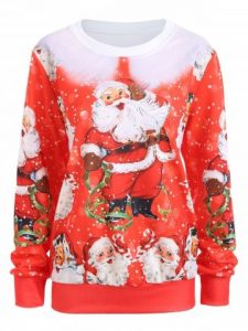 Red Merry Christmas Santa Claus Sweatshirt