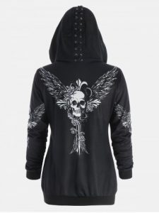 Print Halloween Skull Wings Zip Up Hoodie - Black