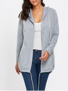 Gray Drawstring Hooded Open Front Jacket  S