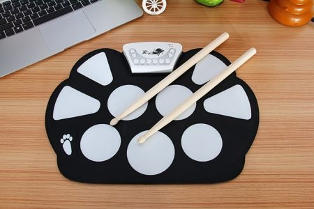 USB Drum Kit PC Desktop Electronic Drum Pad W758M with 2 Sticks Foot Pedals