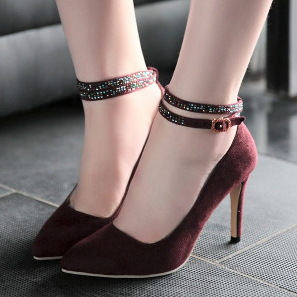 2015 new cheap price Sequins Point Toe Suede Ankle Strap Pumps new styles for sale iRHQhRmkCj