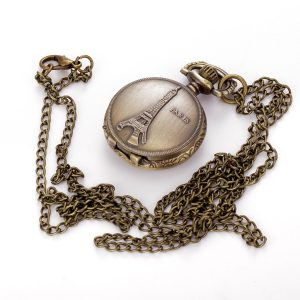 Pattern Antique Chain Analog Necklace Quartz Watch Fashion Vintage Pocket Watch Paris Towe