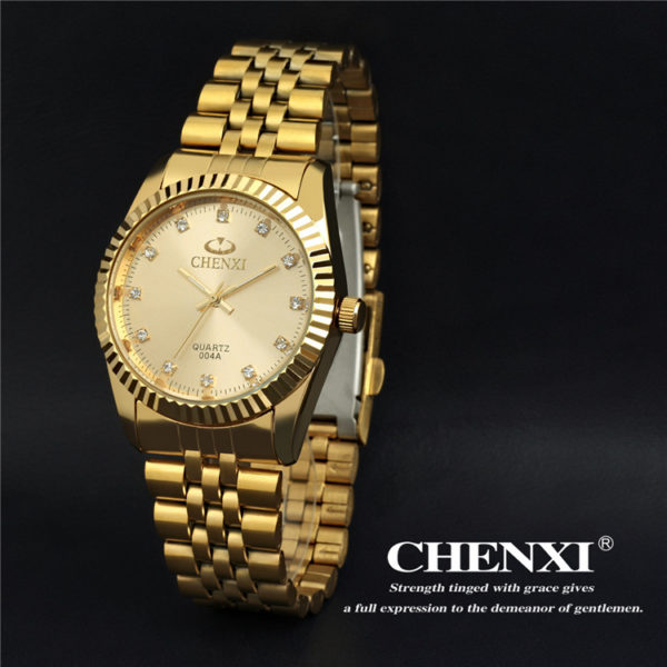 Crystal Gold Stainless Steel Waterproof Quartz Watch CHENXI CX-004A