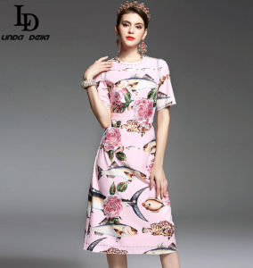High Quality New 2017 Spring Summer Designer Runway Dress girls elegant middle Calf Length Floral Embroidery written Pink Dress