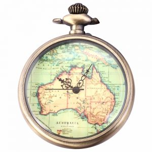 Map Quartz Pocket Watch Vintage AU