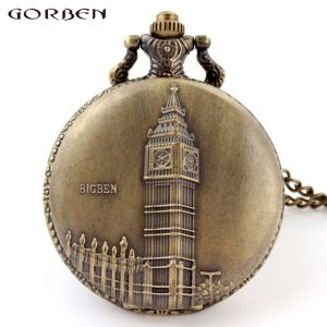 Vintage Big Ben Pattern Bronze Quartz Pocket Watch