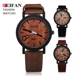 Analog Quartz Men Watch Casual Simulation Wood Grain Color Dial PU Leather Band