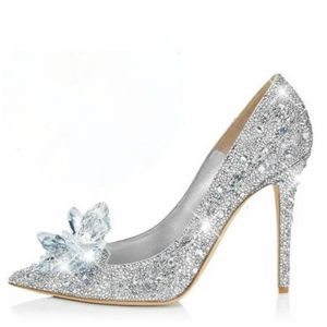 2017 New rock crystal High Heels Cinderella Shoes ladies Pumps Pointed toe girl Crystal Wedding Shoes 7cm or 9cm heel massive size