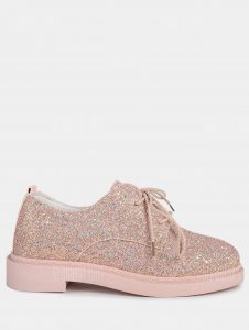 Glitter Low Top Tie Up Flat Shoes