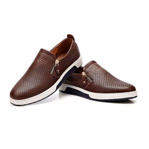 Men Casual Breathable Genuine Leather Flats Oxfords Shoes