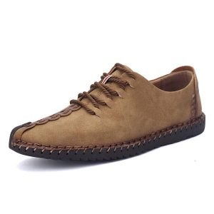 Men Hand Stitching Soft Sole Casual Lace Up Oxfords Shoes