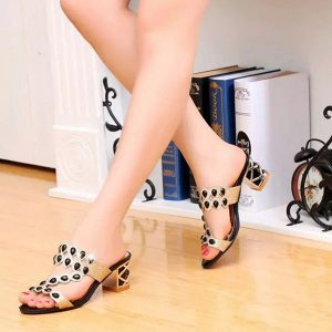 Women Casual Platform Sandals Rhinestone Slip On Shoes Beach Sandals