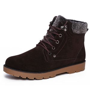 Winter Men Keep Warm Boots Plush Cotton Lace Up Casual Outdoor Snow Boots