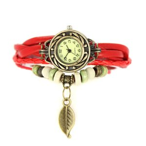 Female Vintage Wooden Bead Leaf Bracelet PU Leather Watch