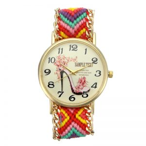 Custom Folk Women Watch High Heels Pattern Alloy Case Casual Retro Quartz Wrist Watch