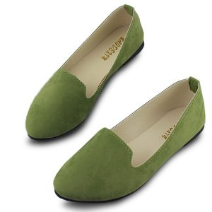omen Flats Comfortable Casual Slip On Pointed Toe Suede Flat Loafers Shoes