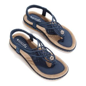 SOCOFY Large Size Women Kintted Casual Soft Sole Outdoor Beach Sandals