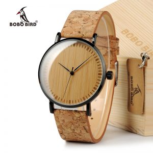 BOBO BIRD E19 restroom Cool Designer inexperienced Hour Hands Bamboo wood Watches Real animal skin Bands Watches for Men