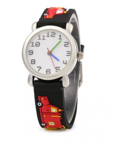 Rubber Band Quartz Kids Watch Stereo Cartoon Pattern