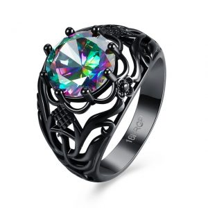 Hot Fashion Luxury Vintage Black mineral CZ Crystal colourful Rings for girls Wedding engagement jewellery rings